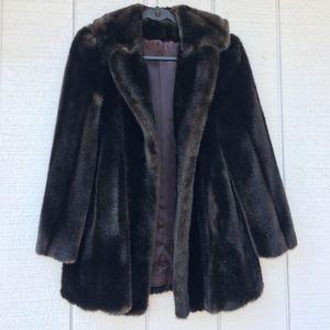 Jackets & Blazers - Vintage Dark Brown Faux Fur Coat